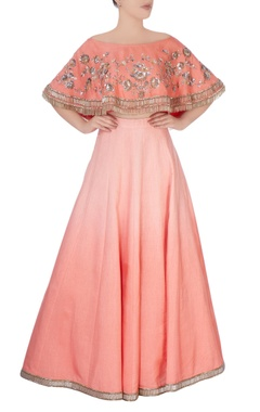 peach lehenga with off shoulder blouse