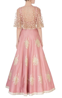 coral pink embroidered lehenga