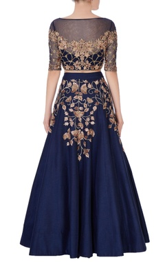 blue sequin embroidered lehenga
