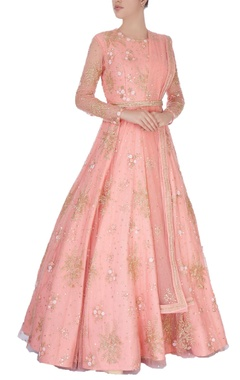 Light pink sequin embroidered anarkali gown
