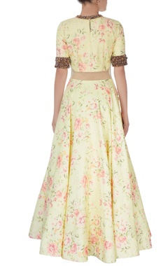 Light yellow quilted dupion anarkali
