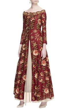 Burgundy off shoulder jacket & skirt