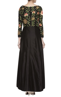 Black embroidered jacket & lehenga