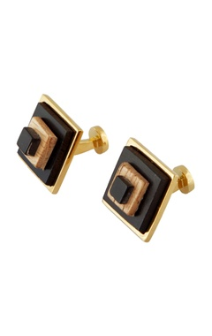 Gold handcrafted wood cufflinks