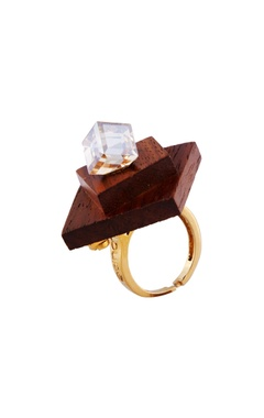 Gold wood & swarovski crystal ring