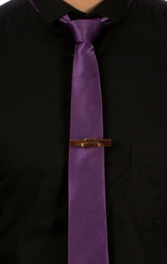 gold boned metal & wood tie-pin