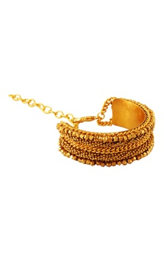 Gold bracelet with beaded chains