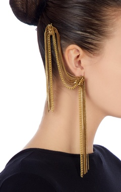Gold earrings with beaded chains