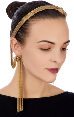 Gold earrings with attached head chain