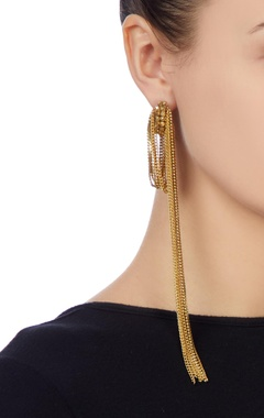 Gold earrings with dangling bead chains