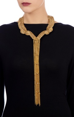 Gold necklace with multiple chain layers