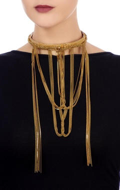 Gold choker necklace with beaded chains