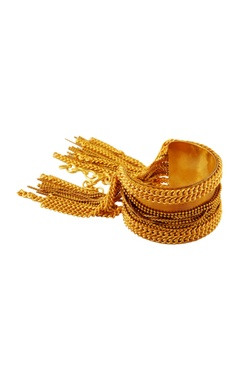 Gold cuff bangle with beaded chains