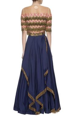 blue gathered lehenga & tassel blouse