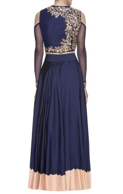Navy blue embroidered lehenga