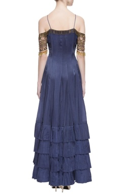 Navy blue tiered style gown