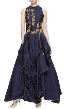 Navy blue gathered gown