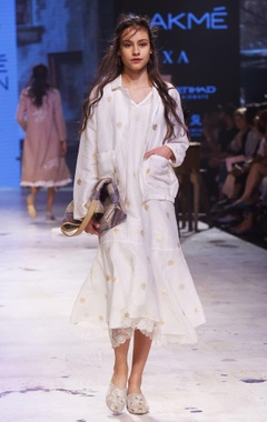 white hand-woven banarasi dress
