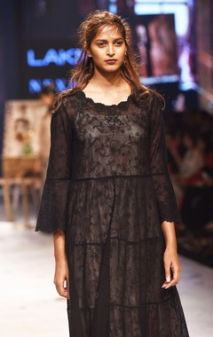 Black sheer embroidered dress