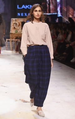 Navy blue oversized check trousers