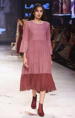 EKA Burgundy embroidered flared dress