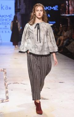 black & grey stripe trousers