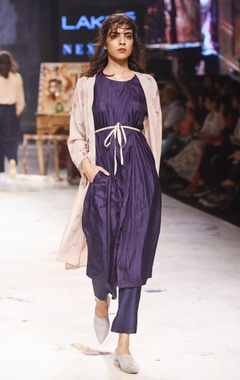 Navy blue silk flared trousers