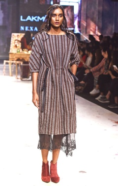 EKA Black & grey stripe print dress