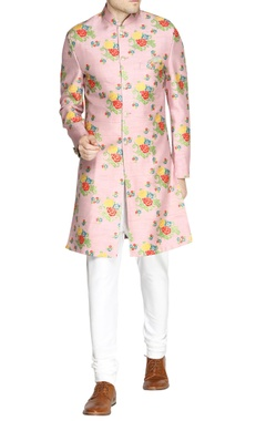 Light purple floral print sherwani
