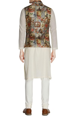 Multicolored printed nehru jacket & churidar pants