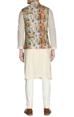 Multicolored parisian printed nehru jacket set