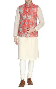Orange floral print nehru jacket set
