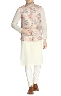NAUTANKY - Men Rose pink floral print nehru jacket set