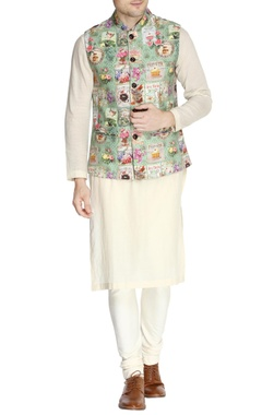 Green french print nehru jacket set