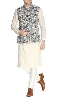 Multicolored printed nehru jacket set