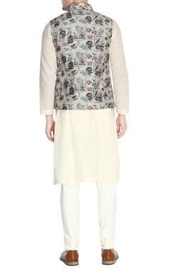 Grey printed nehru jacket set