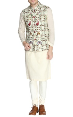 Multicolored floral themed nehru jacket set