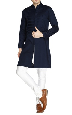 Navy blue front open kurta
