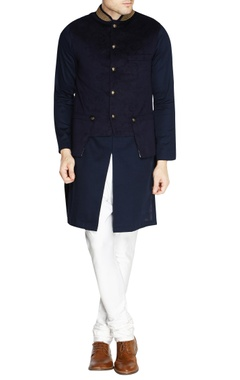 Navy blue velvet nehru jacket set