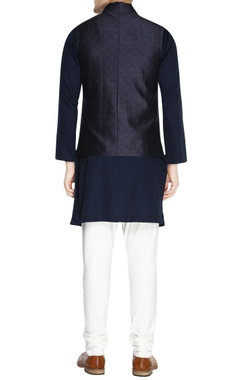 Navy blue printed nehru jacket set