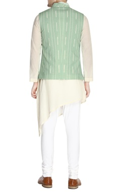 Mint green printed nehru jacket set