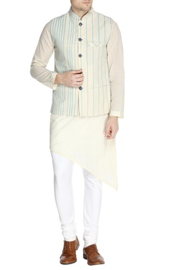 White jacket in blue pinstripe detail