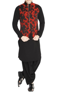 NAUTANKY - Men Black & red jacquard jacket set