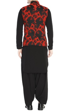 Black & red jacquard jacket set