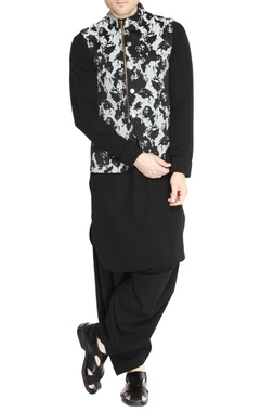 NAUTANKY - Men Black & white floral jacquard jacket set