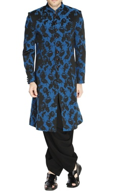 NAUTANKY - Men Black & blue floral sherwani
