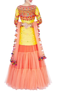 yellow kurta with orange lehenga & dupatta
