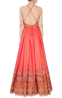 coral pink halter gown