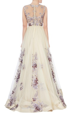 white flared net gown