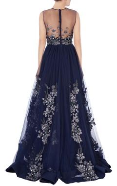 blue net gown in sequin work
